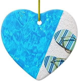 HomeT Two Bathing Slippers On Edge of Swimming Pool Ceramic Ornament
