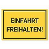 Einfahrt Freihalten Schilder (30x20 cm Kunststoff) - Ausfahrt freihalten Schild - Nie Wieder zugeparkt - Auch Gegenüber - (Gelb)