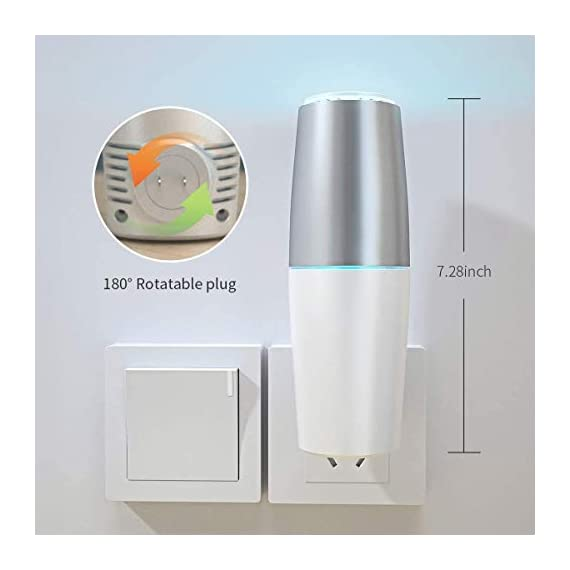 HomeZens Portable Plug in Air Purifier for Viruses and Bacteria, UV-C Light Sanitizer Eliminate and Sanitize Germs & Odor, Keep Air Clean for Bedroom, Kitchen, Bathroom, Pet Area, Nursery, Small Rooms 6 🍃 UV air purifiers are designed to use UV-C light to inactivate airborne pathogens and microorganisms like mold, bacteria and viruses. Powerful UV-C light can kill up to 99.9% of germs and bacteria without any additional liquid or chemicals. 🍃 This 7 inch small wall pluggable air purifier is perfect for the kitchen, litter box room, bathroom, or children's room. Just plug it into any 120V outlet and 180 degrees rotatable plug for a different angle, the light will turn on and work, effectively sanitize a 10㎡ room it within 2h to get the best result. 🍃 UV light air purifiers disinfect the hard to reach corner of your room, The top cover for full protection design and fully sealed air purification design works in photolysis cavity, no radiation and ozone leakage, no need to be away from the room when working.