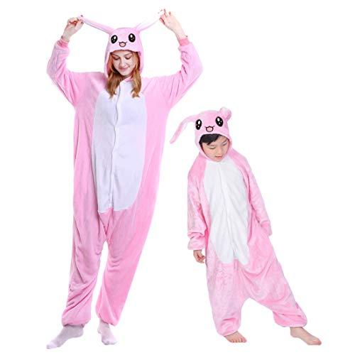 DEBAIJIA Kinder Flanell Jumpsuit Jungen Mädchen Tieranzüge Pyjama Overall Onesie Schlafanzug Warm halten Weich Tierkostüme Kaninchen Rosa - 125