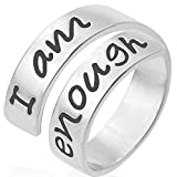 Jude Jewelers Stainless Steel Inspirational Mantra Statement Graduation Cocktail Party Ring (I am Enough), Silver