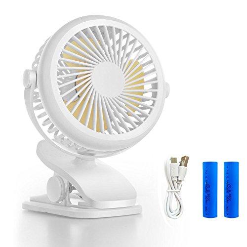 Queta Ventilador Portátil con Clip USB o Batería Recargable de 1600mAh 360°Ajustable Bajo Ruido para Cochecito de Bebé,Oficina, Hogar, Actividades al Aire Libre (Blanco)