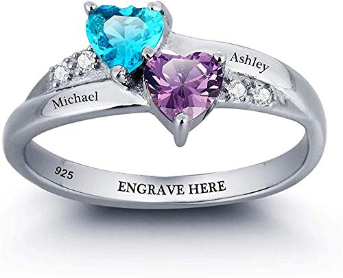 OPALSTOCK Personalized 2 Heart Simulated Birthstone Rings Engraved 2 Names Mother Rings Promise Rings for Her Engagement Rings for Women (7)