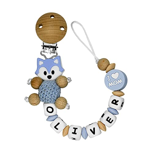 RUBY - Chupetero Personalizado Para Bebe Cadena Chupete con Nombre Bola Silicona Antibacteriana con Pinza de Madera, Chupetero de Zorrito de Crochet (Azul Pastel)