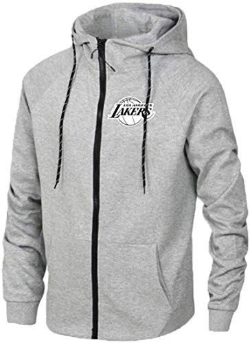 Funnyy Sudadera Unisex, La Camiseta de Los Angeles Lakers James Formación de Manga Larga con Capucha de Baloncesto Deportes de la Chaqueta de los Hombres de la Rebeca del suéter Gris-L