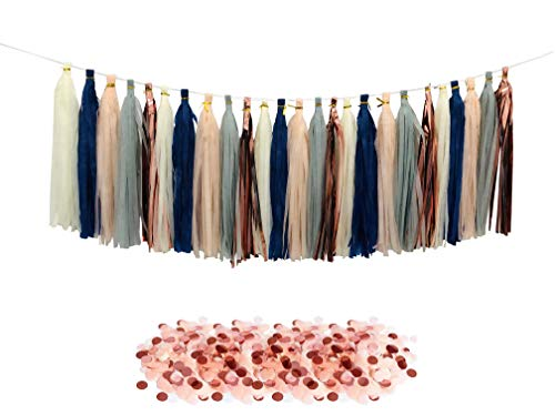 Tissue Paper Tassels Party Garland, 25pcs Rose Gold Foil Navy Gray Beige Peach Tassel 10g Rose Gold Beige Pink Confetti Gift for Baby Girl Showers Birthday Weddings Bridal Shower Decorations