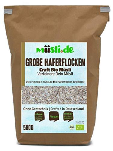 müsli.de BIO Grobe Haferflocken 1x580g, für eine vegane Ernährung geeignet. Knackiger Geschmack dank Vollkornflocken. Starte klassisch in den Tag!