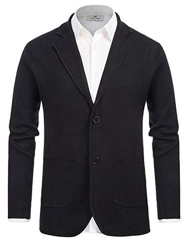 PJ PAUL JONES Mens Shawl Collar Cardigan Sweater Casual Knitted Sport Outwear Black XL