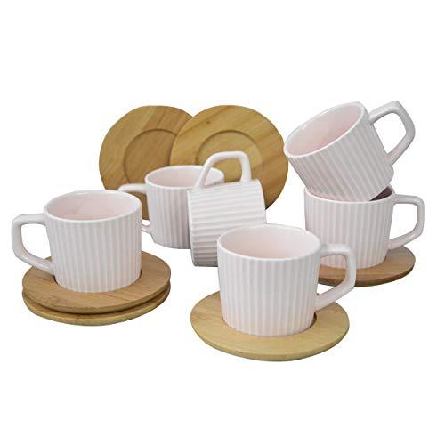 Hogar y Mas Juego de Café Natura Rosa Palo Moderno, 6 Tazas con Platos de Bambú. Tazas de Café 6 Unidades, 100 ml