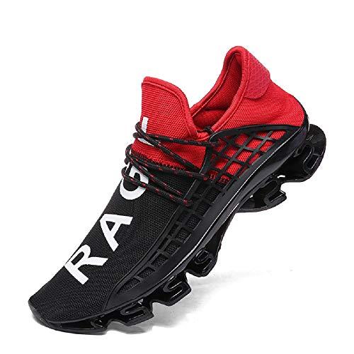 FUSHITON Sportschuhe Herren Laufschuhe Damen Turnschuhe Freizeitschuhe Atmungsaktiv Sneakers Mode Straßenlaufschuhe, Rot, 45 EU