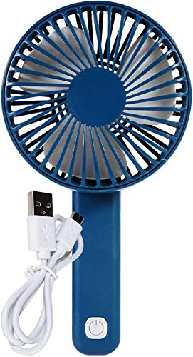 Bright Eyes - Mini ventilador de mano recargable micro USB con mango ajustable, 4 colores, Azul marino