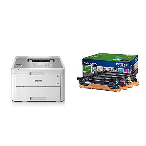 Brother HL-L3210CW Kompakter Farblaserdrucker (18 Seiten/Min) weiß + TN-243CMYK Toner-Multipack, schwarz, gelb, magenta, cyan
