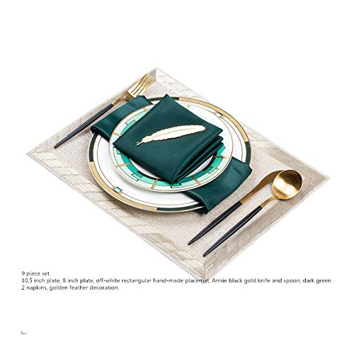 Suppenteller mit Zwiebelmuster,Tafelservice, Porzellan,Besteck Set voller Bone China Steak Teller Geschirr-Paket drei (9-teiliges Set)_10,5 Zoll,Holzschale Salatschüssel Obstteller,Suppenteller an