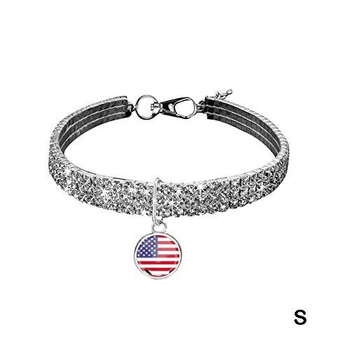 TARTIERY Haustier Halsbänder Pet Halsband Halskette Mit Knochenform Anhänger Bling Strass Für Kleine Mittlere Hunde Pet Necklace for American Independence Day Festival