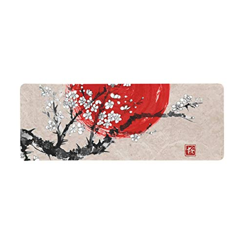 InterestPrint Soft Extra Extended Large Gaming Mouse Pad with Stitched Edges, Desk Pad Keyboard Mat, Non-Slip Base for Office & Home, 31.5 x 12In - Vintage in Blossom Ink Painting Sumi-E