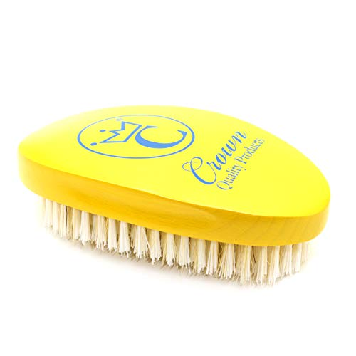 "NEW Crown Quality Products Limited Edition - Canary Yellow – Baby Blue logo - MEDIUM BRISTLE Contour Wave Brush - ""THE ORIGINAL"" Curved Wave Brush - 360 Waves in Days"