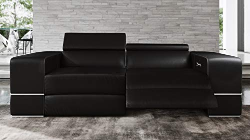 Modern Luxor Reclining Sofa with Power Headrests - Black Top Grain Leather