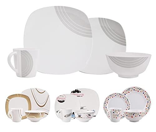 (melamina, diseño del número de personas y 1–2–4–6A Elegir.) Pizarra Vajilla Vajilla De Camping Exterior Jardín Cocina Vajilla camping picnic, Design Circel Cream Eckig