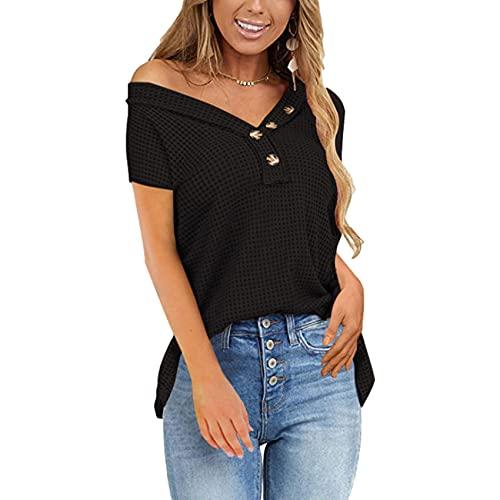 Camiseta Superior Abotonada con Cuello en V de Color sólido para Mujer, Camiseta Informal de Manga Corta Suelta, Camiseta Superior para Mujer