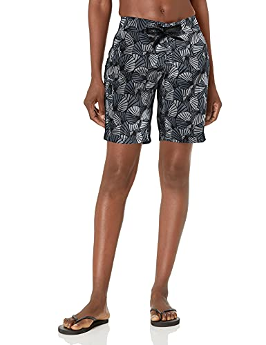 Kanu Surf Women's Audrey UPF 50+ Active Printed Swim and Workout Board Short, Black, 14
