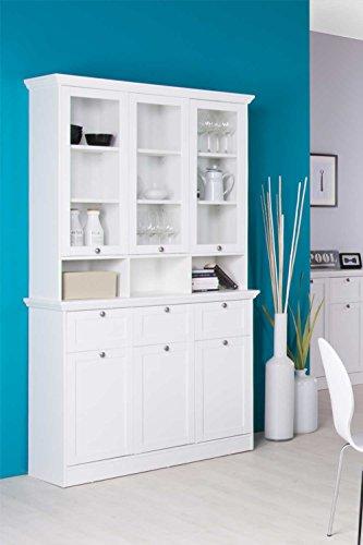 lifestyle4living Buffetschrank in weiß,3 Türen, 3 Schubkästen, 3 Glastüren (9 Ablagen dahinter), 3 offene Fächer, Glastüraufsatz ca. 30 cm tief,Maße:ca. 120/200/40 cm