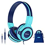 SIMOLIO Foldable Headphones for Kids with Mic, 75dB-85dB-94dB Kid Headphone with Share Port, Stereo Wired Headphones Hearing Protection for Youth Boys,Girls, Portable Pouch for School/Travel (Mint)