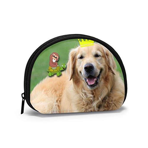 Bolsa de tela Oxford Happy Golden Retriever perro monedero pequeño con cremallera bolsa de cambio mini cosméticos maquillaje bolsas organizador multiusos