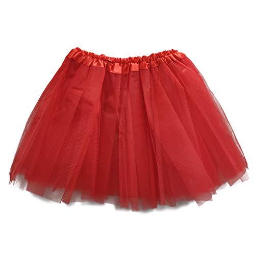 MUNDDY Tutu Elastico Tul 3 Capas 30 CM de Longitud para niña Bebe Distintas Colores Falda Disfraz Ballet (Rojo)