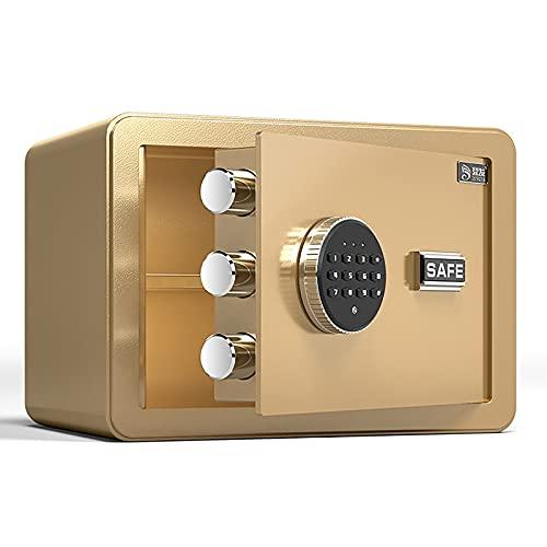 FDYZS Pequeño Valor Seguro de Alta Seguridad electrónica con Teclado de dígitos Completo con reconocimiento de Huellas Dactilares para el hogar, Oficina, Banco, supermercado,Oro