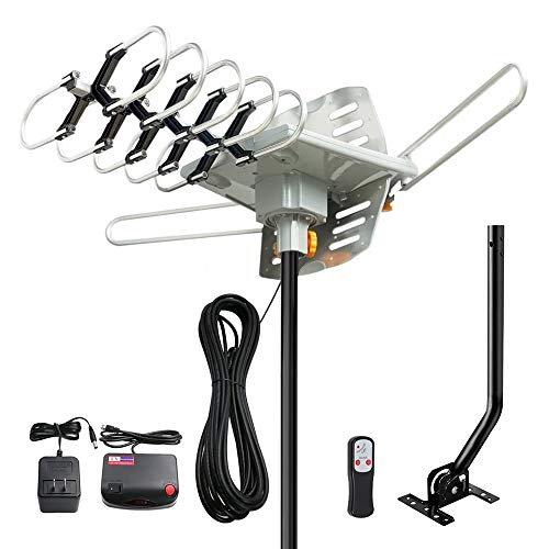 Outdoor Antenna - Amplified HD Digital Antenna 150 Miles Range, 360 Degree Rotation Wireless Remote, with 33 FT Coax Cable (Mounting Pole),Antenna for 4K HD Channels 1080P VHF UHF, Support 2 TVs