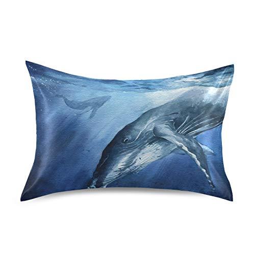HaJie - Funda de almohada de satén para cabello y piel, diseño de ballena de mar, 100% poliéster, tamaño estándar 50,8 x 76,2 cm, 1 unidad