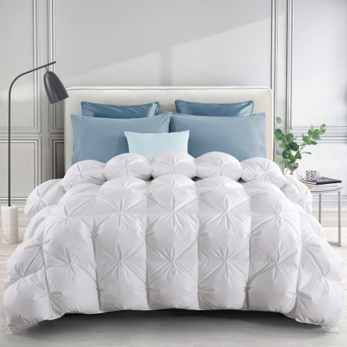 puredown 800 Fill Power Heavyweight Goose Down Comforter, 700 Thread Count, 100% Egyptian Cotton Fabric Cloud Fluffy Pinch Pleat Design Extra Warmth Duvet Insert for Winter King Size