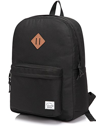 Vaschy Backpack for Men and Women Lightweight School Bag Casual Daypack 20 Liters Basic Water Resistant Foldable Rucksack for Travel, Sports, Hiking with Two Bottle Pockets, Black