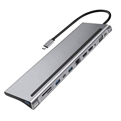 bansd USB Tipo C 4K HDMI Hub Compatible Usb3.0 Usb2.0 PD VGA Carga con Adaptador Plateado