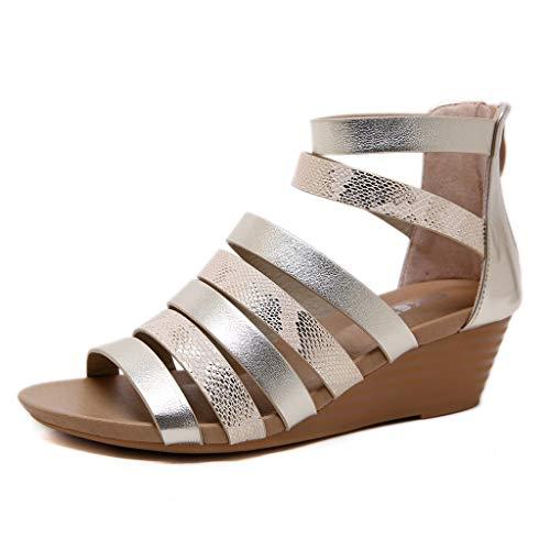 Sandalias Mujer Verano 2019,Calzados Informales, Sandalias con Cremallera peepee, Sandalias de Verano, para Mujer