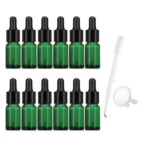 JJYHEHOT 12PCS Frasco Cuentagotas Cristal 10ml Botellas Cuentagotas Botella de Aceite Esenciales