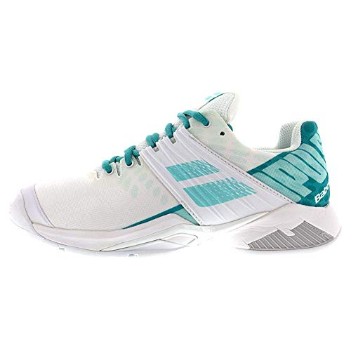 Babolat Women`s Propulse Fury All Court Tennis Shoes White and Mint Green (9.5)