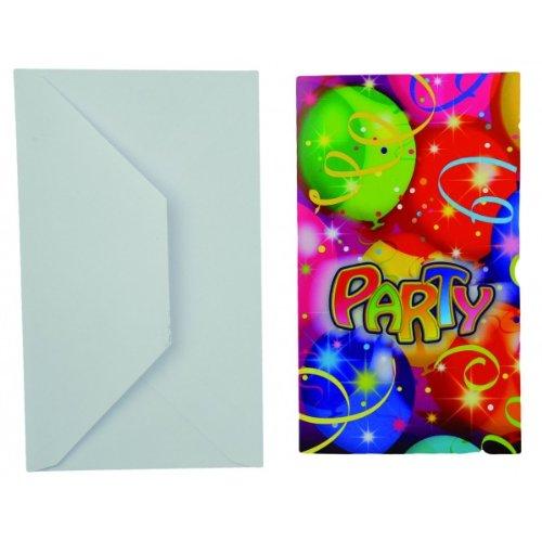 Riethmüller Einladungskarten Party mit Umschlag 6 Stück bunt 15x9cm Einheitsgröße