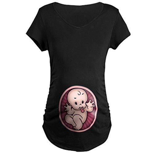 Q.KIM Premaman Divertenti Baby Magliette Premaman Stampa Divertente Tops T-Shirt Gravidanza Donna (XL, Baby,Nero)