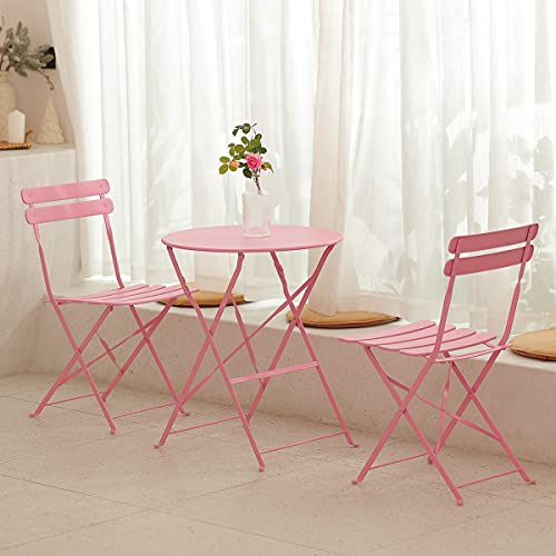 mano Garden Balcony Sets 1 Table and 2 Chairs Outdoor Dining Camping Furniture Folding Wrought Iron Table Chairs for Patio Courtyard Home Living Room Picnic Terrace(3 Pieces, Pink)