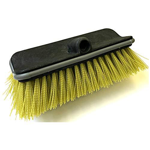 "DocaPole Hard Bristle Deck Brush and Bi-Level Scrub Brush Extension Pole Attachment (11"") | Long Handle Scrub Brush and Deck Brush for Deck, House Siding, Brick, Concrete and more (Pole Not Included)"