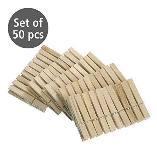 Wenko 50 Wäscheklammern aus FSC zertifiziertem Holz, umweltfreundliche Holzklammern, Klammern zum Basteln und Dekorieren, je 7 cm, natur
