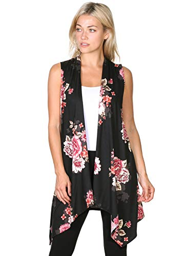 Popana Women's Casual Sleeveless Long Duster Cardigan Vest Plus Size Made in USA Medium DT08 Floral