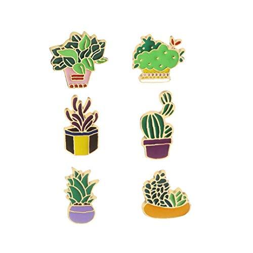 Canjerusof 6pcs Nette Broschen Emaille-Kaktus-Blume Gras Aloe Vera Topfpflanze Abzeichen Buttons