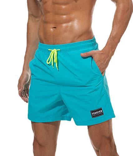 YaoDgFa Herren Badeshorts Badehose Swimming Sommer Beach Shorts Badehosen mit Verstellbarem Tunnelzug Taschen für Surfen, EU XXL (Label 3XL), #01 Hell Blau