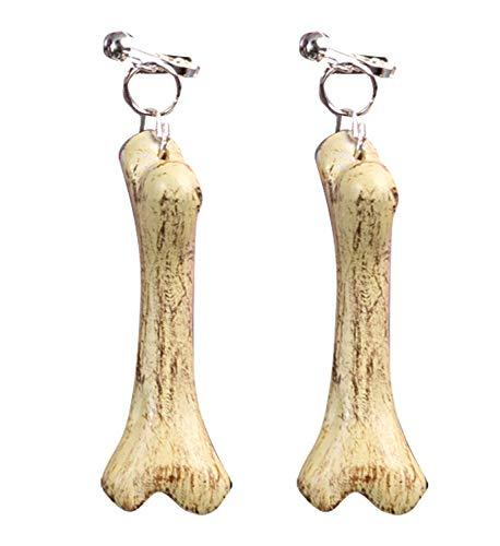 Widmann 1650B - Ohrclips mit Knochen, 1 Paar, Länge ca. 6 cm, Modeschmuck, Ohrringe mit Anhänger, Modeschmuck, Steinzeitmensch, Urzeit, Neandertaler, Sammler, Accessoire, Kostüm