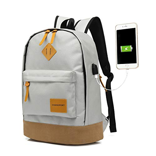 CHANSPORT Cool Backpack For Men and Womens With USB Charger Port Grey