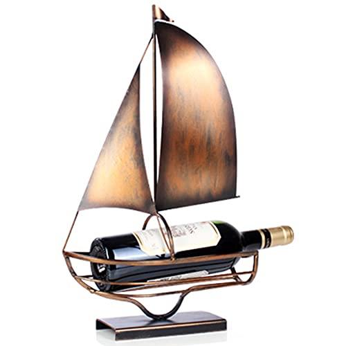 estantería de Vino, estantería de Vino para Botellas, en diseño único - soporte para botellas de vino de metal, Elegante botellero para su colección de Vino doméstica/A