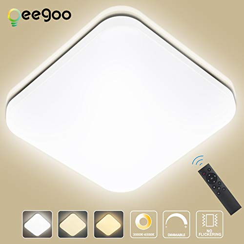 Oeegoo 24W Regulable LED de Luz de Techo Cuadrado, Lámpara de Techo LED de 1680 Lúmenes RA80 (Cambio de temperatura de color por el interruptor: 3000K/4000K/6000K)