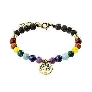 Chakra Farben Armband echter Stein mit Lebensbaum - 16,5 cm